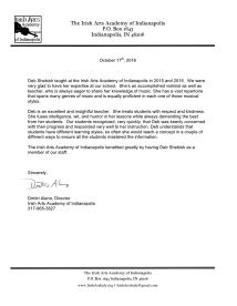Recommendation Letter from Indianapolis Irish Arts Academy