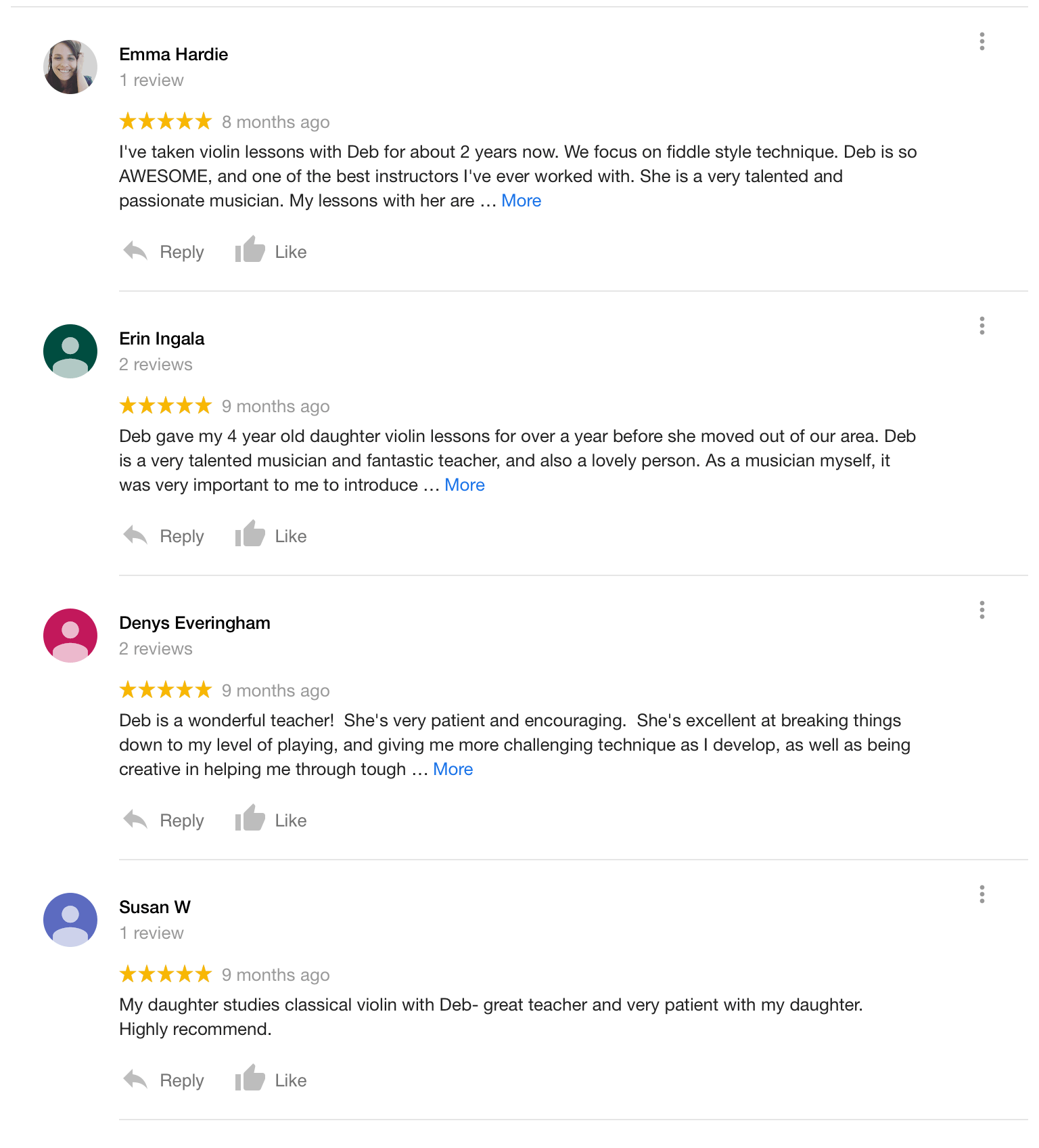 Read reviews from Deb's students
